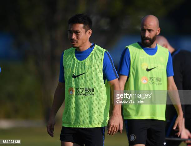 Yuto Nagatomo of FC Internazionale looks on during the training session at Suning Training Center at Appiano Gentile on October 14 2017 in Como Italy