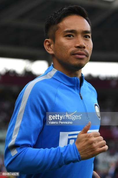 Yuto Nagatomo of FC Internazionale looks on prior to the Serie A match between FC Torino and FC Internazionale at Stadio Olimpico di Torino on March...