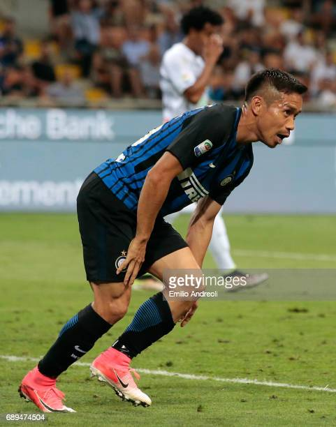 Yuto Nagatomo of FC Internazionale Milano celebrates his goal during the Serie A match between FC Internazionale and Udinese Calcio at Stadio...