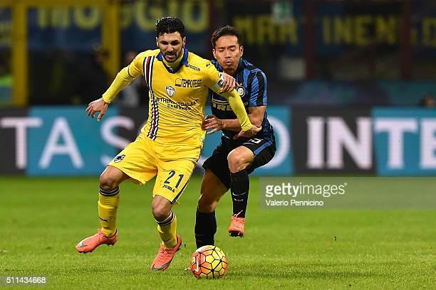 Yuto Nagatomo of FC Internazionale Milano competes with Roberto Soriano of UC Sampdoria during the Serie A match between FC Internazionale Milano and...