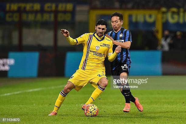 Yuto Nagatomo of FC Internazionale Milano competes with Roberto Soriano of UC Sampdoria during the Serie A match between FC Internazionale Milano and...