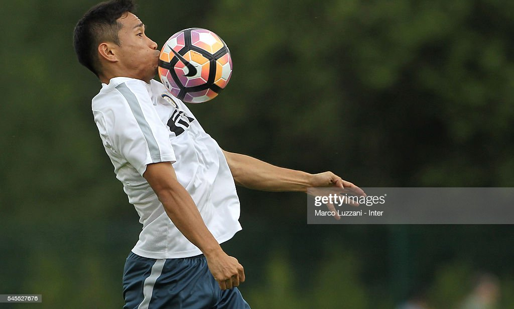 Yuto Nagatomo of FC Internazionale Milano controls the ball during day Three of the FC Internazionale training camp on July 8, 2016 in Bruneck, Italy.