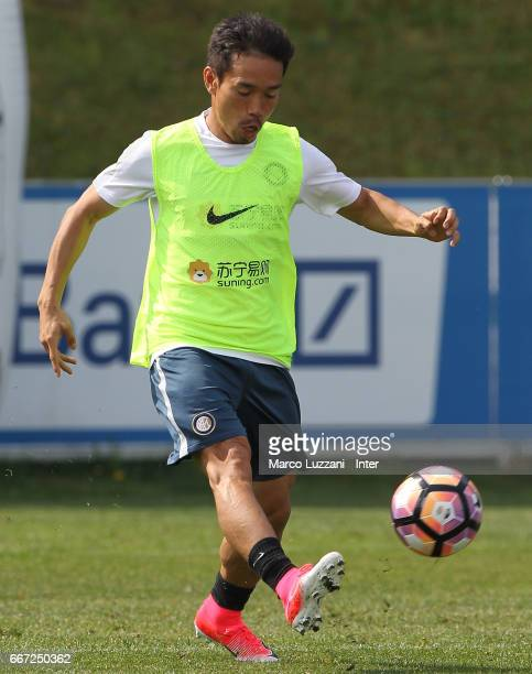 Yuto Nagatomo of FC Internazionale Milano in action during the FC Internazionale training session at the club's training ground 'La Pinetina' on...