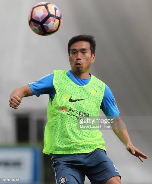 Yuto Nagatomo of FC Internazionale Milano in action during the FC Internazionale training session at the club's training ground Suning Training...