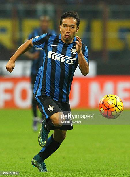Yuto Nagatomo of FC Internazionale Milano in action during the Serie A match between FC Internazionale Milano and AS Roma at Stadio Giuseppe Meazza...