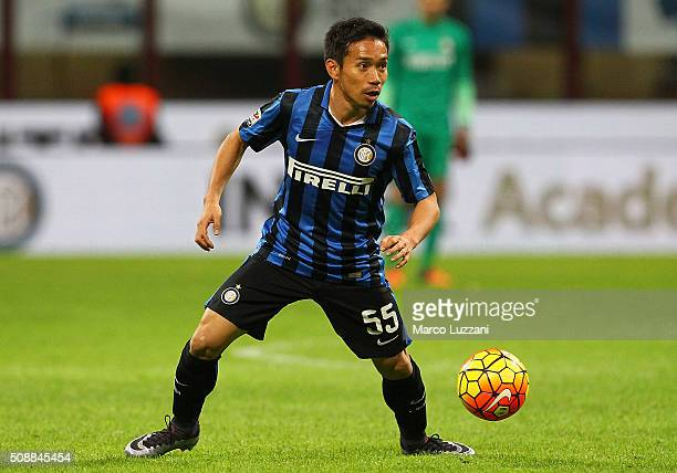 Yuto Nagatomo of FC Internazionale Milano in action during the Serie A match between FC Internazionale Milano and AC Chievo Verona at Stadio Giuseppe...