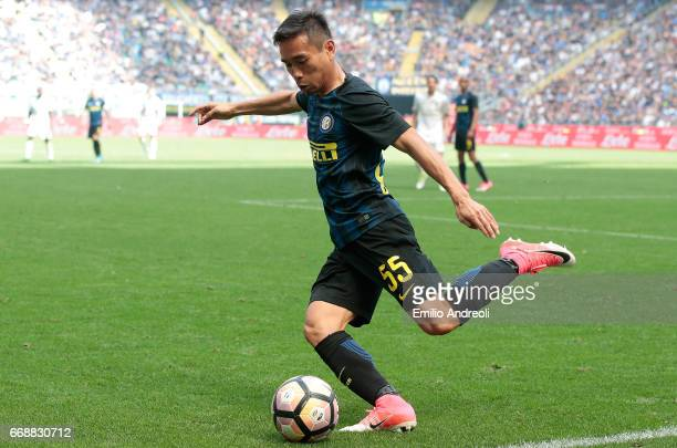 Yuto Nagatomo of FC Internazionale Milano in action during the Serie A match between FC Internazionale and AC Milan at Stadio Giuseppe Meazza on...