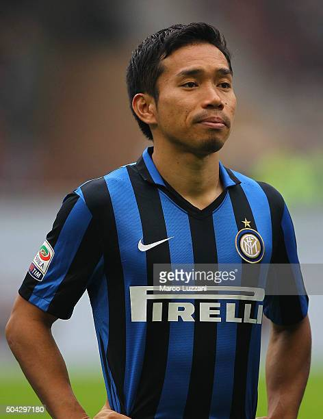 Yuto Nagatomo of FC Internazionale Milano looks on before the Serie A match between FC Internazionale Milano and US Sassuolo Calcio at Stadio...