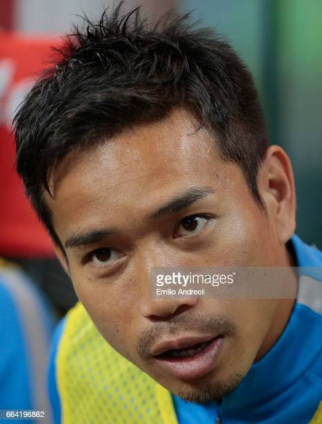 Yuto Nagatomo of FC Internazionale Milano looks on before the Serie A match between FC Internazionale and UC Sampdoria at Stadio Giuseppe Meazza on...