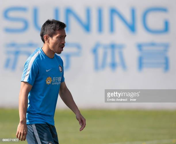 Yuto Nagatomo of FC Internazionale Milano looks on during the FC Internazionale training session at the club's training ground Suning Training Center...