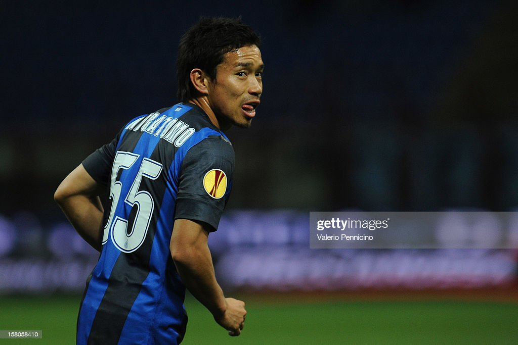 Yuto Nagatomo of FC Internazionale Milano looks on during the UEFA Europa League group H match between FC Internazionale Milano and Neftci PFK on December 6, 2012 in Milan, Italy.