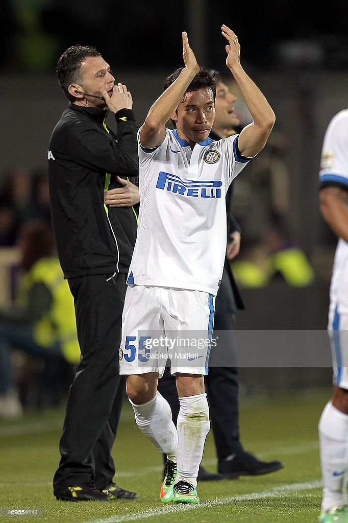 Yuto Nagatomo of FC Internazionale Milano reacts during the Serie A match between ACF Fiorentina and FC Internazionale Milano at Stadio Artemio Franchi on February 15, 2014 in Florence, Italy.