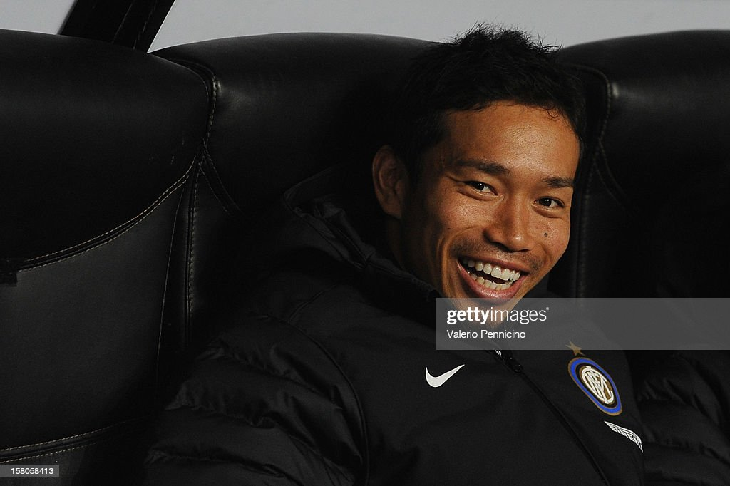 Yuto Nagatomo of FC Internazionale Milano sits on the bench prior to the UEFA Europa League group H match between FC Internazionale Milano and Neftci PFK on December 6, 2012 in Milan, Italy.