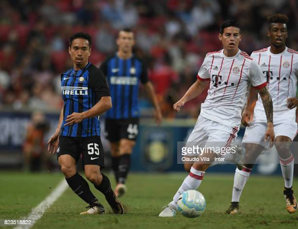 Yuto Nagatomo of FC Internazionale of FC Internazionale and James Rodriguez of Bayern compete for the ball during the International Champions Cup...