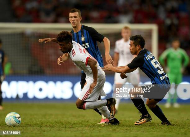 Yuto Nagatomo of FC Internazionale of FC Internazionale and Kingsley Coman of Bayern compete for the ball during the International Champions Cup...