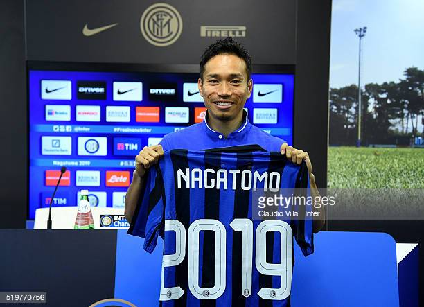 Yuto Nagatomo of FC Internazionale pose for a photo prior to the press conference at the club's training ground at Appiano Gentile on April 8 2016 in...