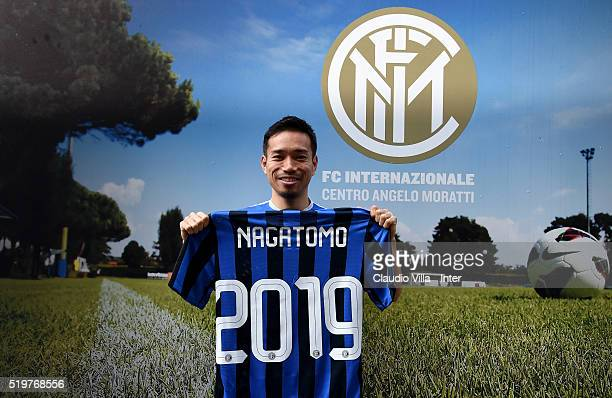 Yuto Nagatomo of FC Internazionale poses for a photo prior to the press conference at the club's training ground at Appiano Gentile on April 8 2016...
