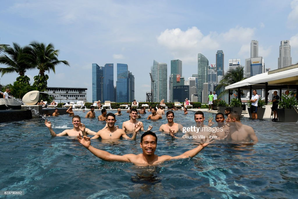 Yuto Nagatomo of FC Internazionale poses in swimming pool at Mandarin Oriental Hotel on July 28, 2017 in Singapore.