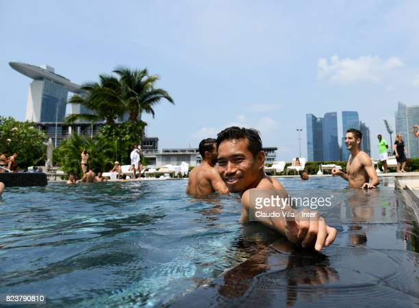 Yuto Nagatomo of FC Internazionale poses in swimming pool at Mandarin Oriental Hotel on July 28 2017 in Singapore