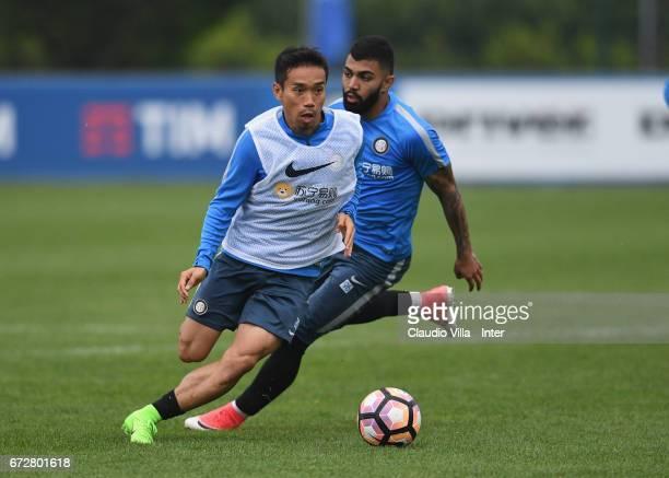 Yuto Nagatomo of FC Internazionale reacts during FC Internazionale training session at Suning Training Center at Appiano Gentile on April 25 2017 in...