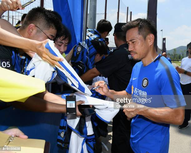 Yuto Nagatomo of FC Internazionale signs autographs for fans after a FC Interazionale training session at Suning training center on July 20 2017 in...