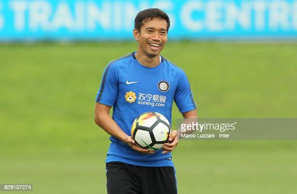 Yuto Nagatomo of FC Internazionale smiles during the FC Internazionale training session at the club's training ground Suning Training Center in...