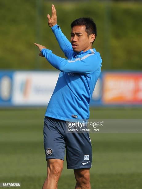Yuto Nagatomo of FC Internazionale trains during the FC Internazionale training session at the club's training ground 'La Pinetina' on April 10 2017...