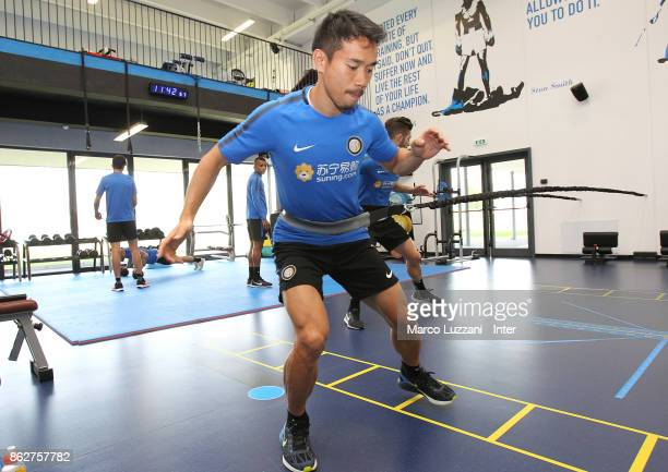 Yuto Nagatomo of FC Internazionale trains in the gym during the FC Internazionale training session at the club's training ground Suning Training...