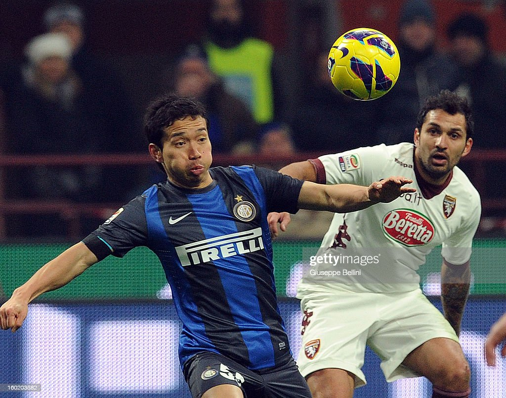 Yuto Nagatomo of Inter and Mario Santana of Torino in action during the Serie A match between FC Internazionale Milano and Torino FC at San Siro Stadium on January 27, 2013 in Milan, Italy.