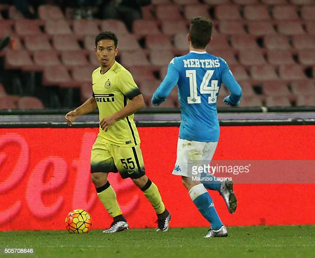 Yuto Nagatomo of Inter during the TIM Cup match between SSC Napoli and FC Internazionale Milano at Stadio San Paolo on January 19 2016 in Naples Italy