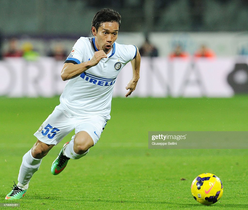 Yuto Nagatomo of Inter in action during the Serie A match between ACF Fiorentina and FC Internazionale Milano at Stadio Artemio Franchi on February 15, 2014 in Florence, Italy.