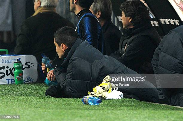 Yuto Nagatomo of Inter Milan looks on from the bench during the Serie A match between F C Internazionale Milano and AS Roma at Stadio Giuseppe Meazza...