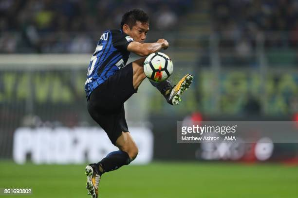 Yuto Nagatomo of Internazionale controls the ball during to the Serie A match between FC Internazionale and AC Milan at Stadio Giuseppe Meazza on...