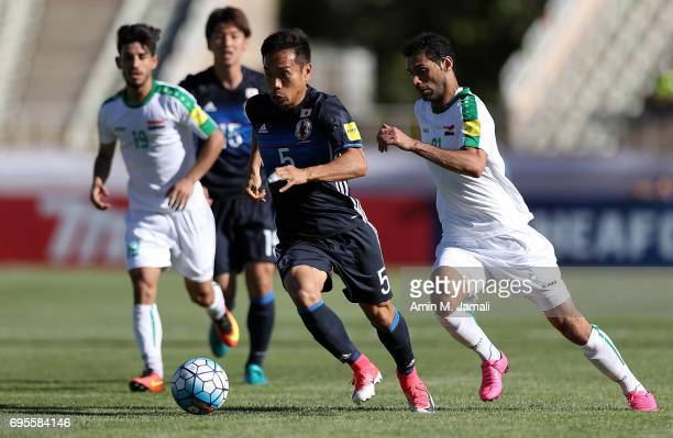 Yuto Nagatomo of Japan in action during the FIFA World Cup Russia Asian Final Qualifier match between Iraq and Japan at PAS Stadium on June 13 2017...