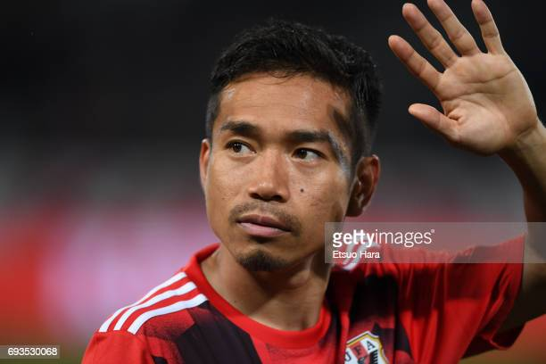 Yuto Nagatomo of Japan looks on after the international friendly match between Japan and Syria at Tokyo Stadium on June 7 2017 in Chofu Tokyo Japan