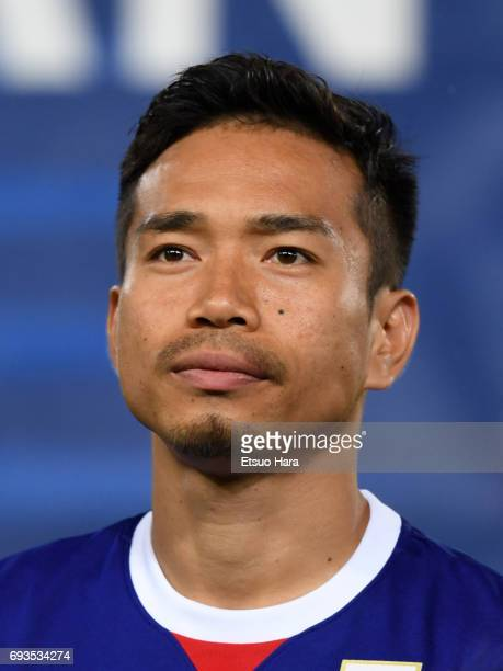 Yuto Nagatomo of Japan looks on prior to the international friendly match between Japan and Syria at Tokyo Stadium on June 7 2017 in Chofu Tokyo Japan