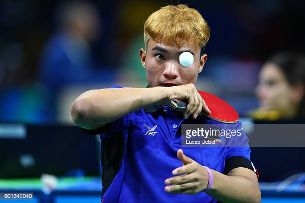 Yuttajak Glinbancheun of Thailand competes in the men's singles Table Tennis Class 3 on day 2 of the Rio 2016 Paralympic Games at Riocentro Pavilion...