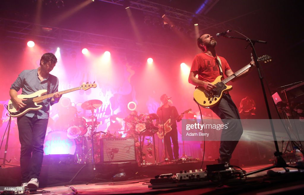 Yuuki Matthews (L) and James Mercer of The Shins (R) perform during a concert at Huxleys Neue Welt on August 15, 2017 in Berlin, Germany.