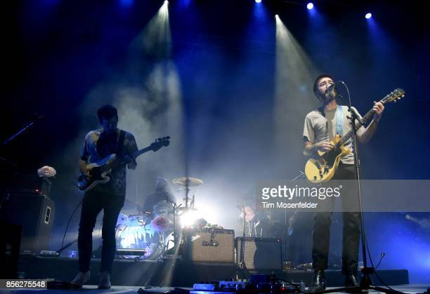 Yuuki Matthews Jon Sortland and James Mercer of The Shins perform in support of the band's 'Heartworms' release at The Greek Theatre on September 30...