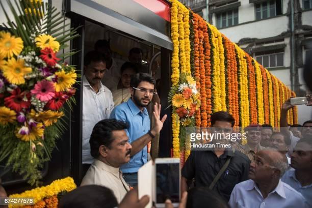 Yuva Sena chief Aditya Thackeray during the inauguration of 303 new red buses at the Wadala depot on April 25 2017in Mumbai India Brihanmumbai...