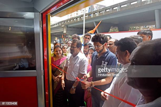 Yuva Sena President Aaditya Thackeray during an inauguration of the 1st of its kind BMC Toilet equipped with air conditioned Solar panels sanitary...