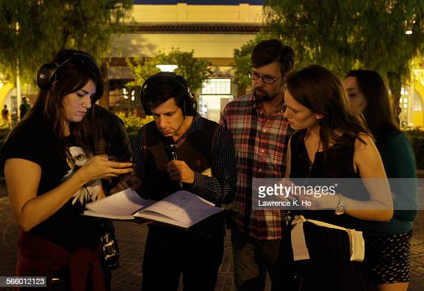 Yuval Sharon Producer/Artistic Dir/Director of the opera 'Invisible Cities' during rehearsal with production crew and singers at Union Station in Los...