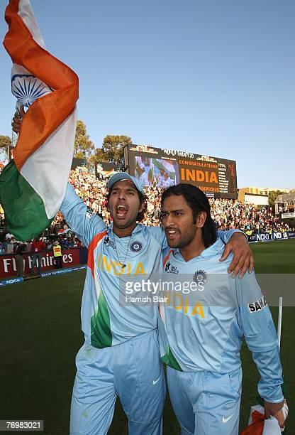 Yuvraj Singh and MS Dhoni of India celebrate their win after the Twenty20 Championship Final match between Pakistan and India at The Wanderers...