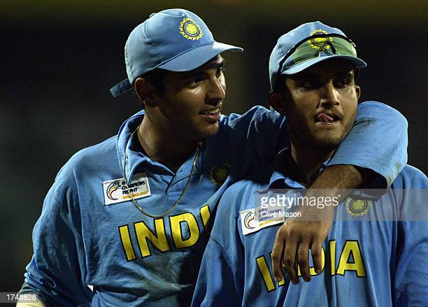 Yuvraj Singh and Sourav Ganguly of India celebrate victory after the ICC Champions Trophy semifinal match between India and South Africa held on...