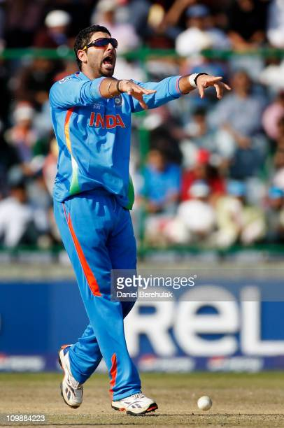 Yuvraj Singh of India appeals successfully for the wicket of Wesley Barresi of the Netherlands during the 2011 ICC Cricket World Cup Group B match...
