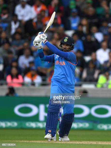 Yuvraj Singh of India bats during the ICC Champions Trophy match between India and Pakistan at Edgbaston on June 4 2017 in Birmingham England