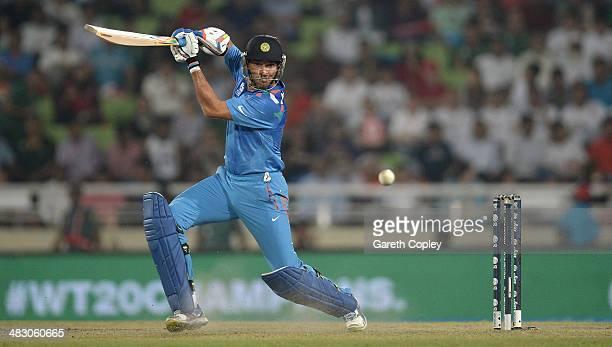 Yuvraj Singh of India bats during the ICC World Twenty20 Bangladesh 2014 Final between India and Sri Lanka at ShereBangla Mirpur Stadium on April 6...