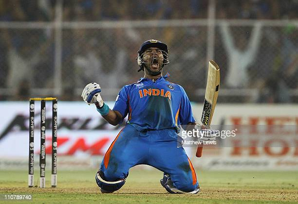 Yuvraj Singh of India celebrates hitting the winning runs during the 2011 ICC World Cup Quarter Final match between Australia and India at Sardar...