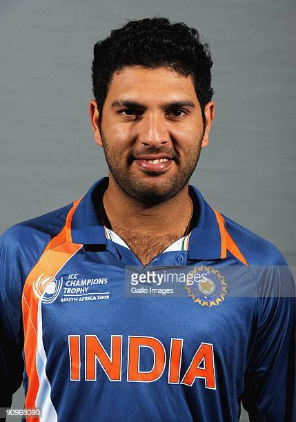 Yuvraj Singh poses during the ICC Champions photocall session of the Indian cricket team at Sandton Sun on September 19 2009 in Sandton South Africa