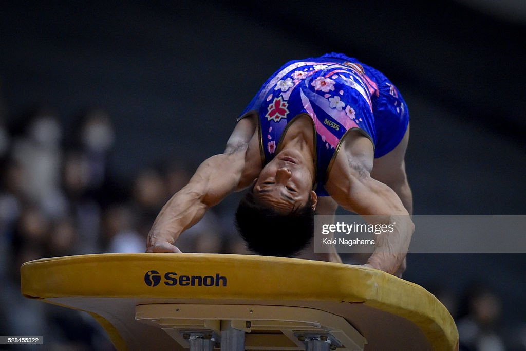 <a gi-track='captionPersonalityLinkClicked' href=/galleries/search?phrase=Yuya+Kamoto&family=editorial&specificpeople=7150648 ng-click='$event.stopPropagation()'>Yuya Kamoto</a> competes in the Horse Vault during the Artistic Gymnastics NHK Trophy at Yoyogi National Gymnasium on May 5, 2016 in Tokyo, Japan.